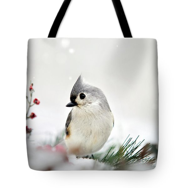 Tote Bag featuring the photograph Snow White Tufted Titmouse by Christina Rollo
