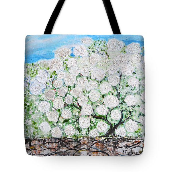 Tote Bag featuring the painting Snowballs Flowers by Evelina Popilian