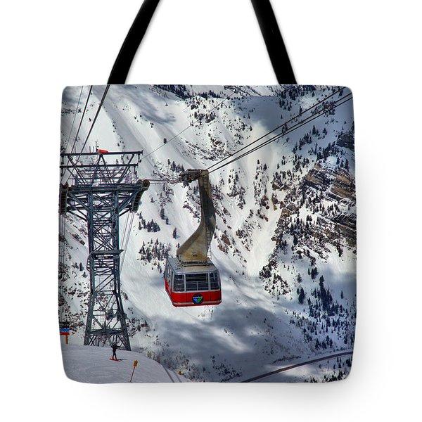 Snowbird Tram Portrait Tote Bag
