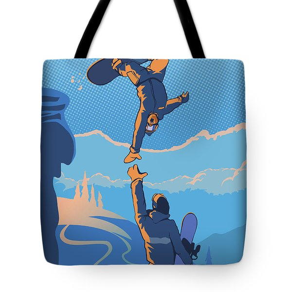 Snowboard High Five Tote Bag