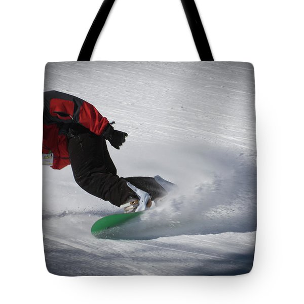 Tote Bag featuring the photograph Snowboarder On Mccauley by David Patterson