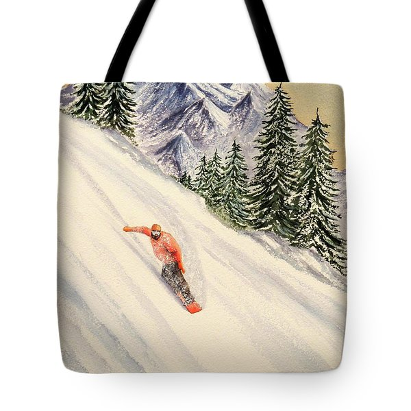 Tote Bag featuring the painting Snowboarding Free And Easy by Bill Holkham