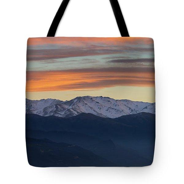 Snowcapped Miapor Range Under Golden Clouds, Armenia Tote Bag