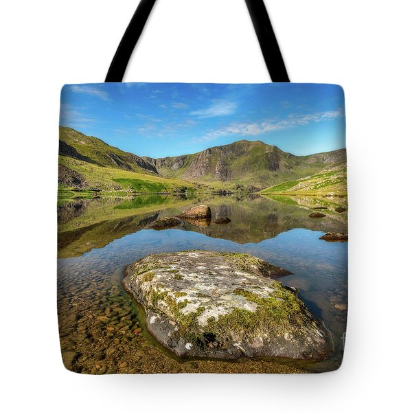 Tote Bag featuring the photograph Snowdonia Mountain Reflections by Adrian Evans