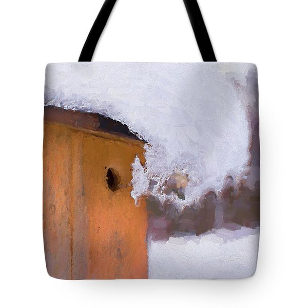 Tote Bag featuring the photograph Snowdrift On The Bluebird House by Gary Slawsky