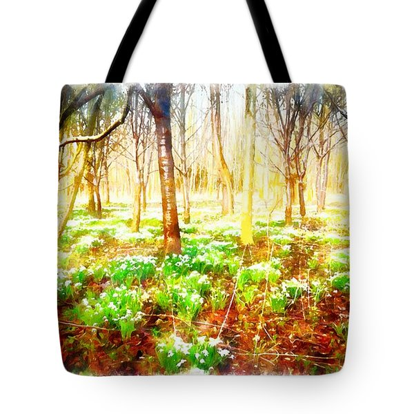 Snowdrops In The Forest Tote Bag