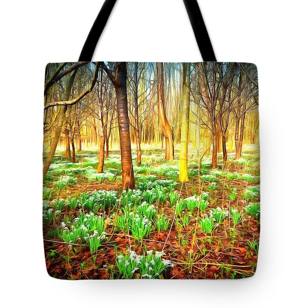 Snowdrops In The Woods Tote Bag