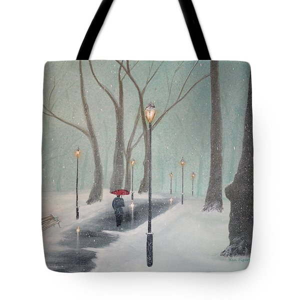 Snowfall In The Park Tote Bag