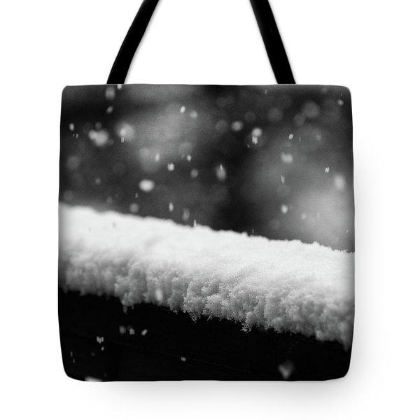 Snowfall On The Handrail Tote Bag