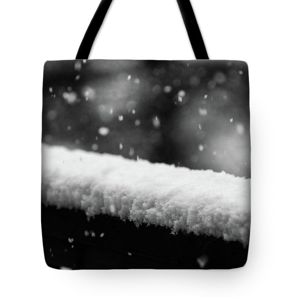 Snowfall On The Handrail Tote Bag