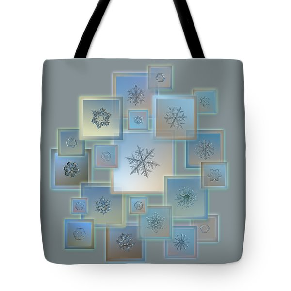 Tote Bag featuring the photograph Snowflake Collage - Bright Crystals 2012-2014 by Alexey Kljatov