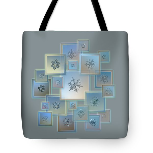 Snowflake Collage - Bright Crystals 2012-2014 Tote Bag by Alexey Kljatov