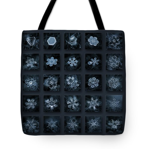 Tote Bag featuring the photograph Snowflake Collage - Season 2013 Dark Crystals by Alexey Kljatov