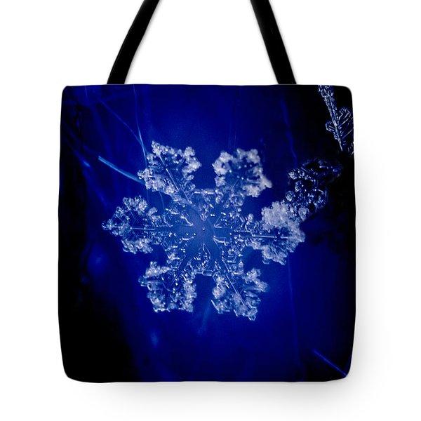 Snowflake On Blue Tote Bag