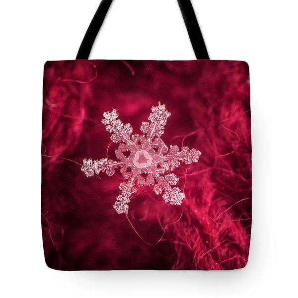 Snowflake On Red Tote Bag
