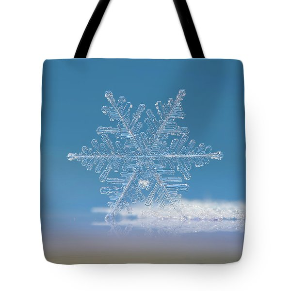 Tote Bag featuring the photograph Snowflake Photo - Cloud Number Nine by Alexey Kljatov