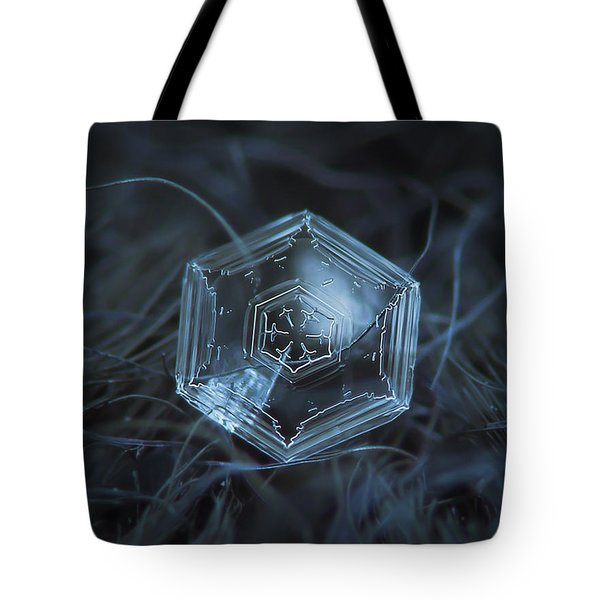Tote Bag featuring the photograph Snowflake Photo - Hex Appeal by Alexey Kljatov