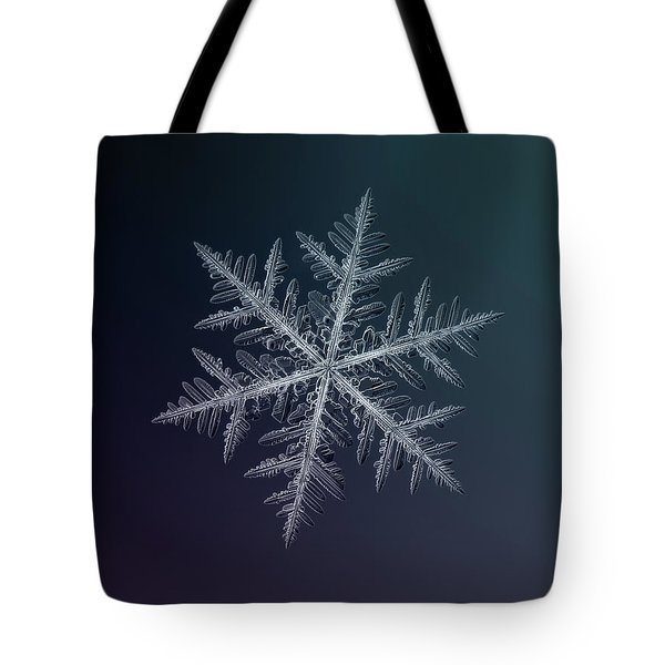 Tote Bag featuring the photograph Snowflake Photo - Neon by Alexey Kljatov