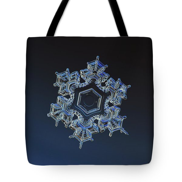 Tote Bag featuring the photograph Snowflake Photo - Spark by Alexey Kljatov