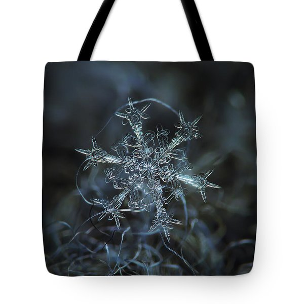 Tote Bag featuring the photograph Snowflake Photo - Starlight by Alexey Kljatov