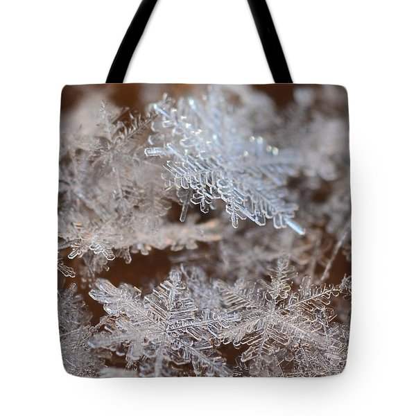 Tote Bag featuring the photograph Snowflakes by Diane Alexander