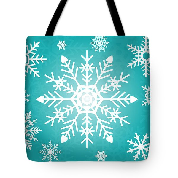 Snowflakes Green And White Tote Bag