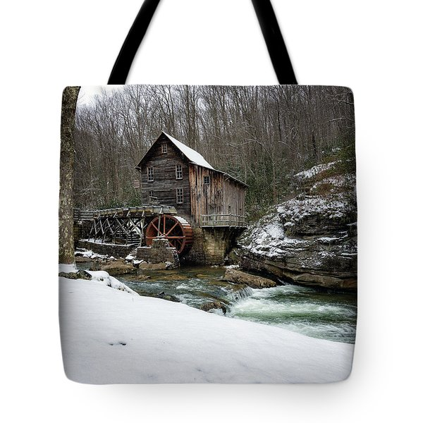 Snowing At Glade Creek Mill Tote Bag