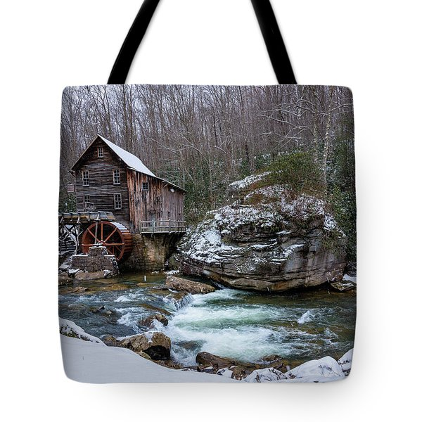 Snowing At The Mill  Tote Bag