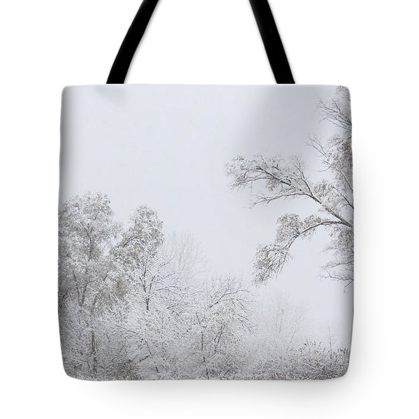 Snowing In A Starbucks Parking Lot Tote Bag