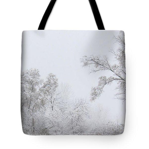 Snowing In A Starbucks Parking Lot Tote Bag by Joni Eskridge