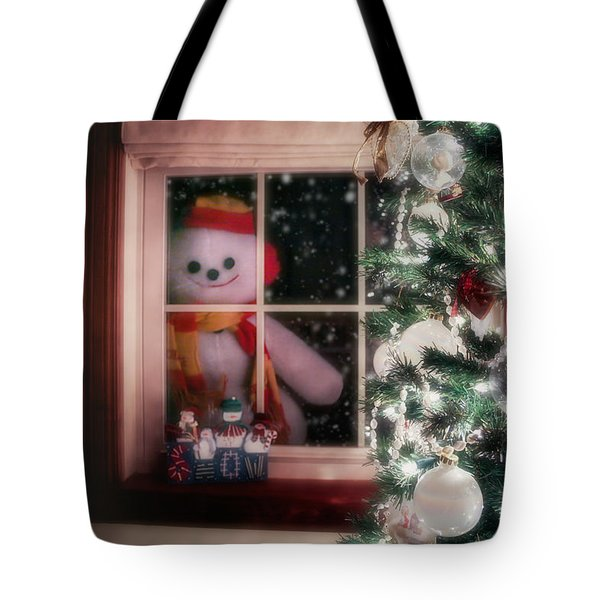 Snowman At The Window Tote Bag