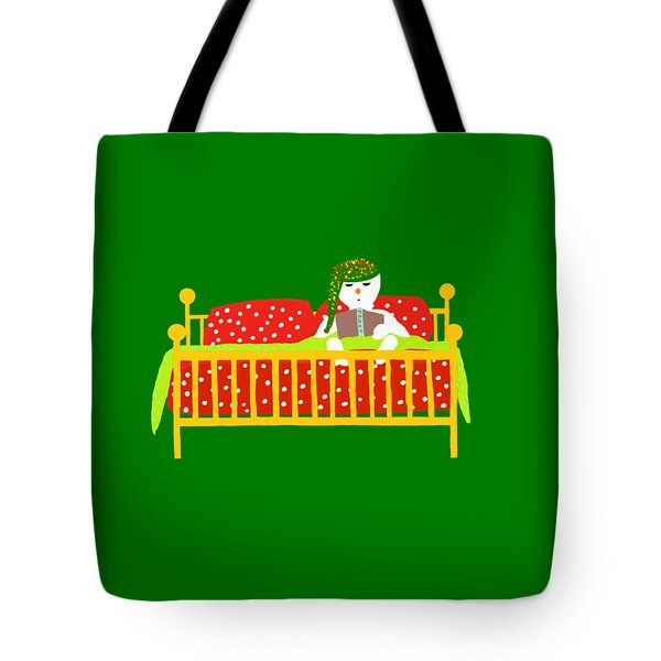 Tote Bag featuring the digital art Snowman Bedtime by Barbara Moignard