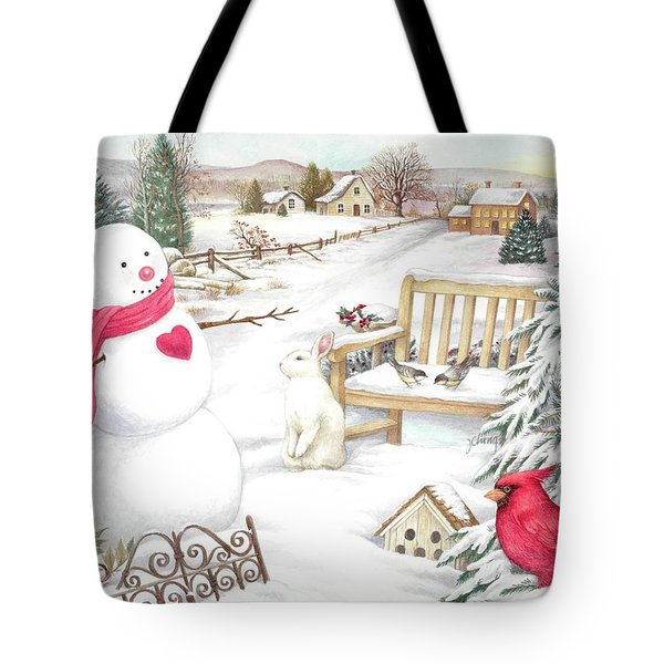Snowman Cardinal In Winter Garden Tote Bag
