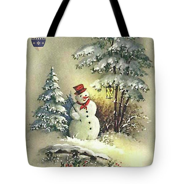 Tote Bag featuring the digital art Snowman Christmas Card by Greg Sharpe
