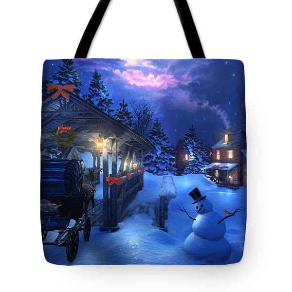 Snowman Crossing Tote Bag