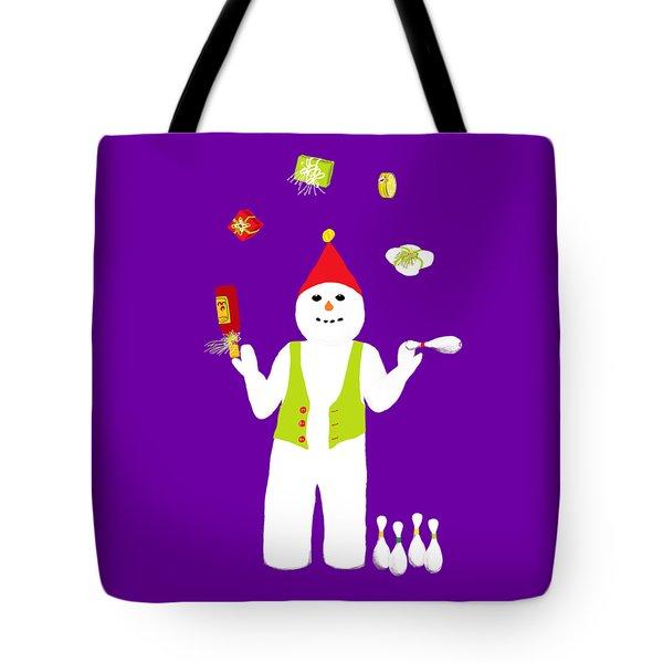 Snowman Juggler Tote Bag by Barbara Moignard