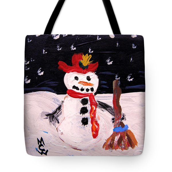 Snowman Under The Stars Tote Bag by Mary Carol Williams