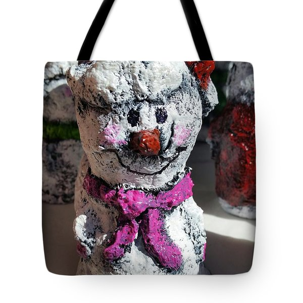 Snowman Pink Tote Bag by Vickie Scarlett-Fisher