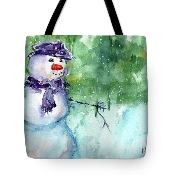 Snowman Watercolor Tote Bag