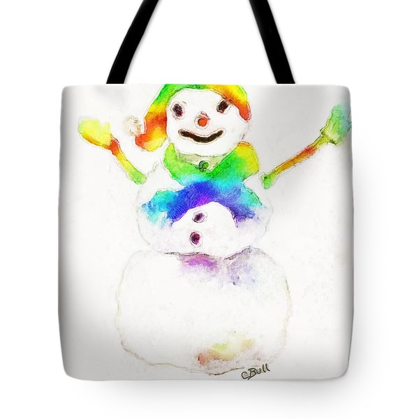Snowman With Rainbow 1 Tote Bag by Claire Bull