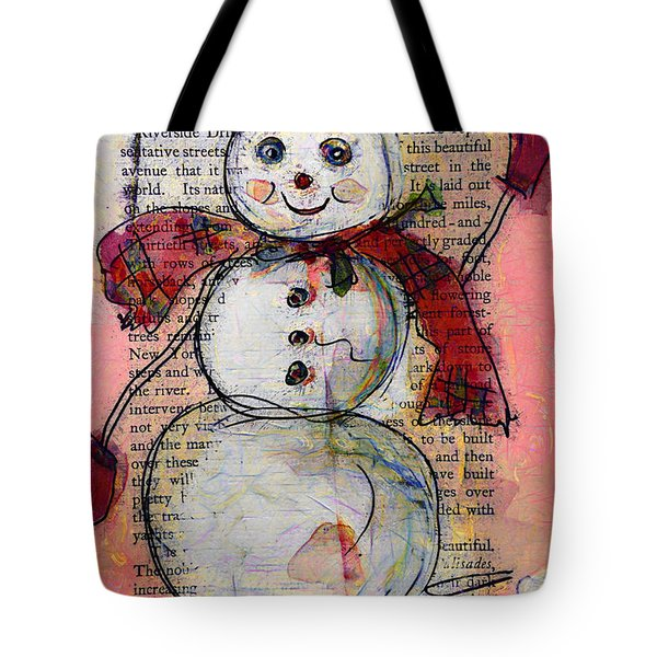 Snowman With Red Hat And Mistletoe Tote Bag