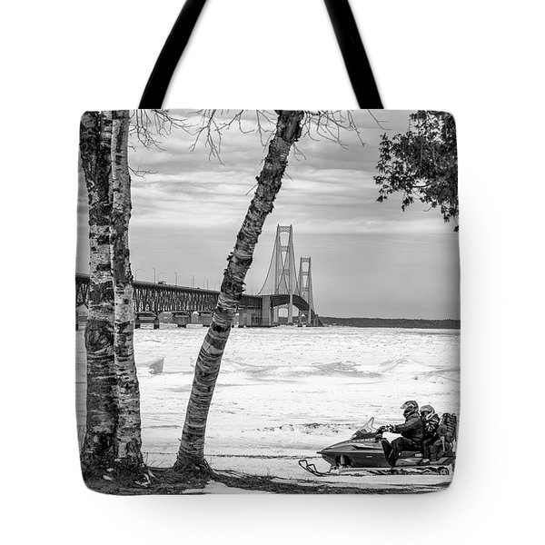 Tote Bag featuring the photograph Snowmobile Michigan Black And White  by John McGraw