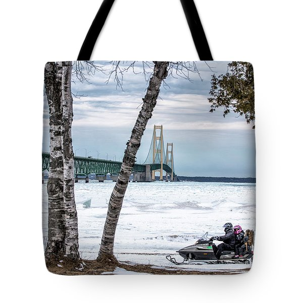 Tote Bag featuring the photograph Snowmobile Michigan  by John McGraw