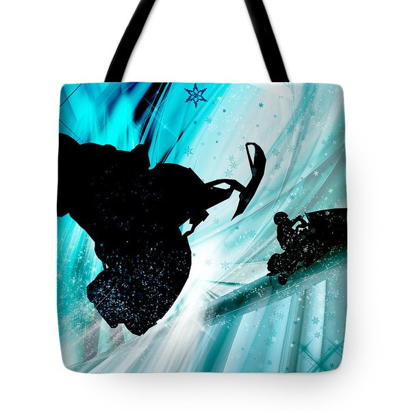 Snowmobiling On Icy Trails Tote Bag by Elaine Plesser