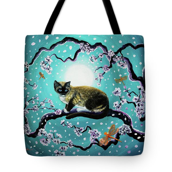 Snowshoe Cat And Dragonfly In Sakura Tote Bag