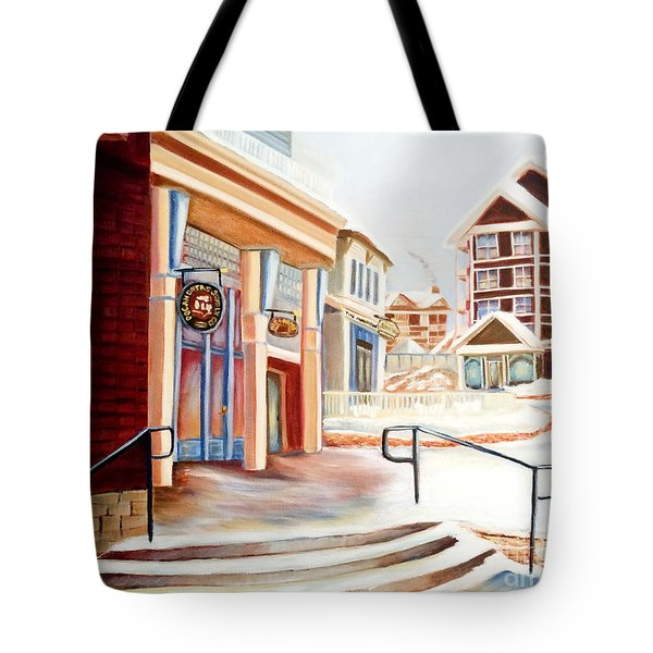 Snowshoe Village Shops Tote Bag