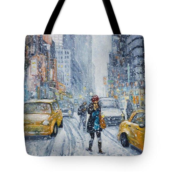 Urban Snowstorm Tote Bag