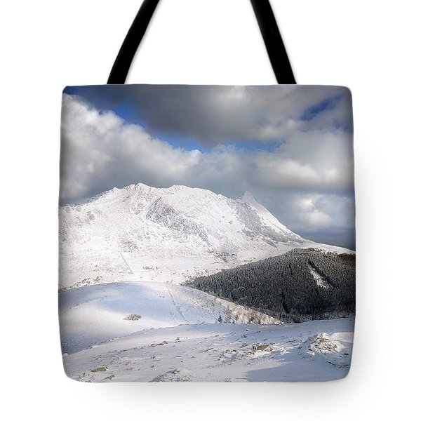 snowy Anboto from Urkiolamendi at winter Tote Bag