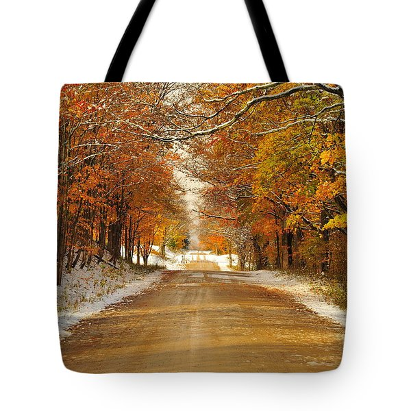 Snowy Autumn Morning In Pure Michigan Tote Bag
