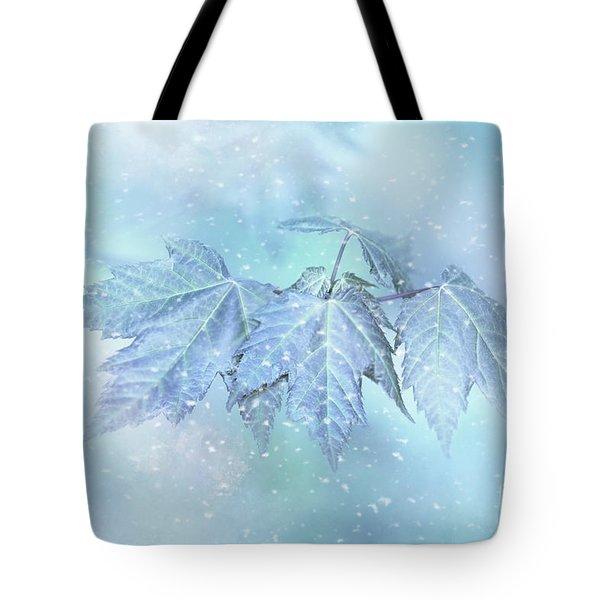 Snowy Baby Leaves Tote Bag